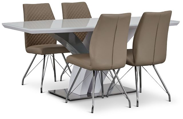 Lima Taupe Table & 4 Upholstered Chairs (3)