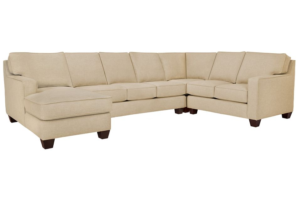 York Beige Fabric Left Chaise Innerspring Sleeper Sectional