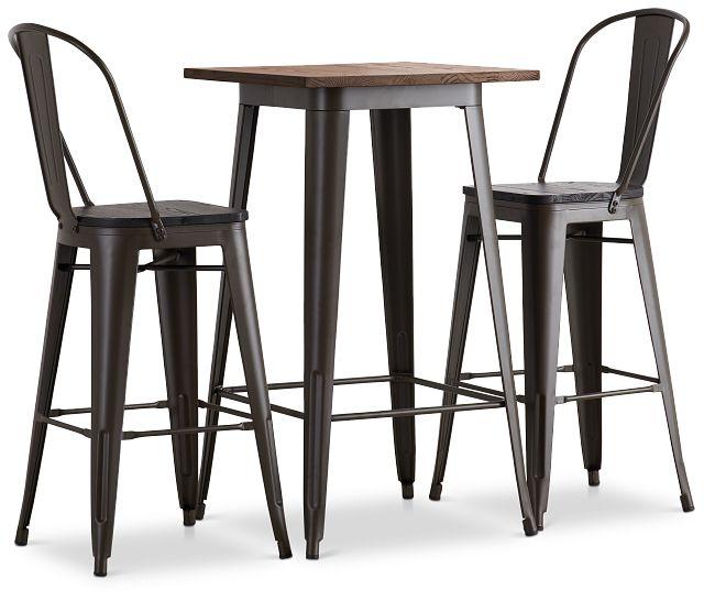 Harlow Dark Tone Pub Table & 2 Wood Barstools (1)