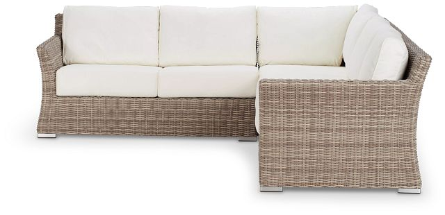 Raleigh White Woven Small Two-arm Sectional (1)