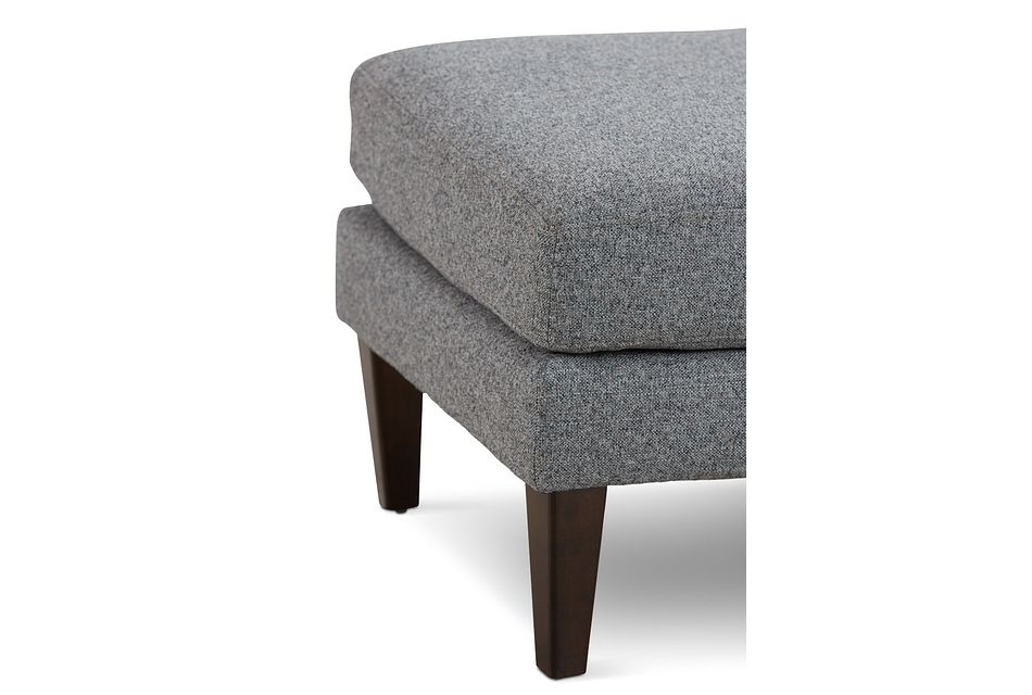 Morgan Dark Gray Fabric Ottoman With Wood Legs