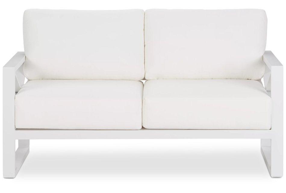 Linear White Aluminum Loveseat