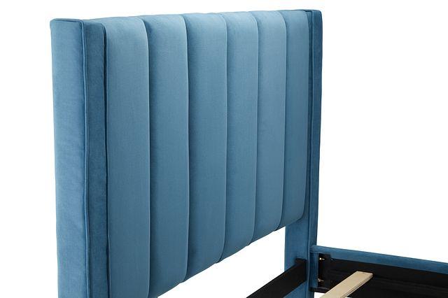 Audrey Blue Velvet Platform Bed (2)