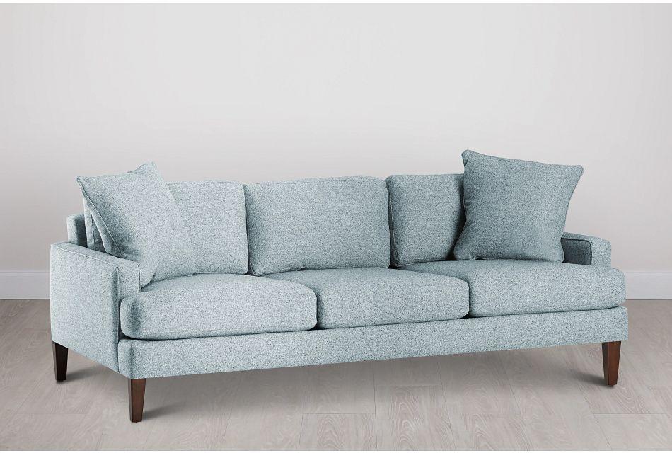 Morgan Teal Fabric Sofa With Wood Legs