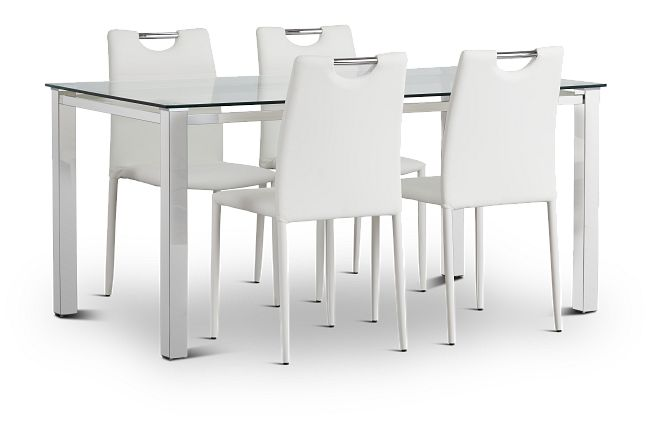 Skyline White Rect Table & 4 Upholstered Chairs
