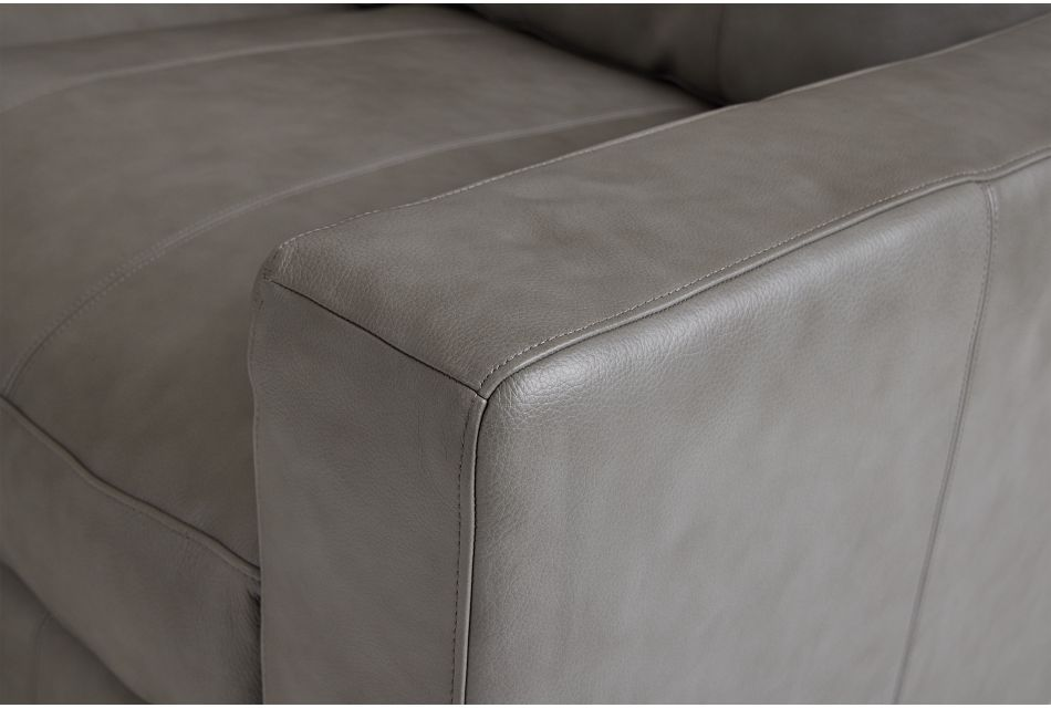 Dawkins Gray Leather Left Chaise Sectional