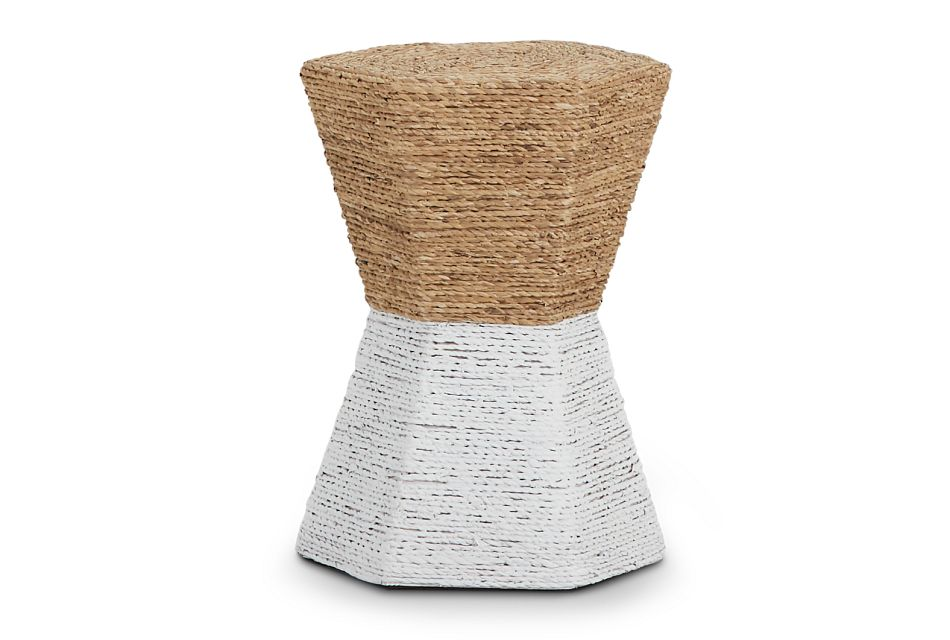Seaside White Woven Accent Table,  (1)