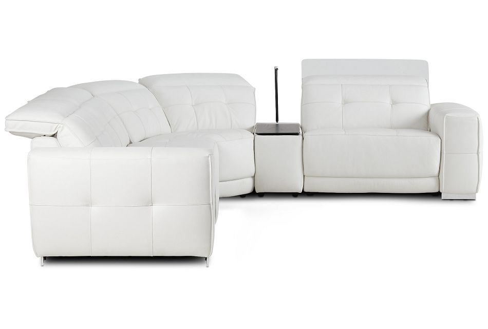 Reva White Leather Small Dual Power Reclining Two-arm Sectional