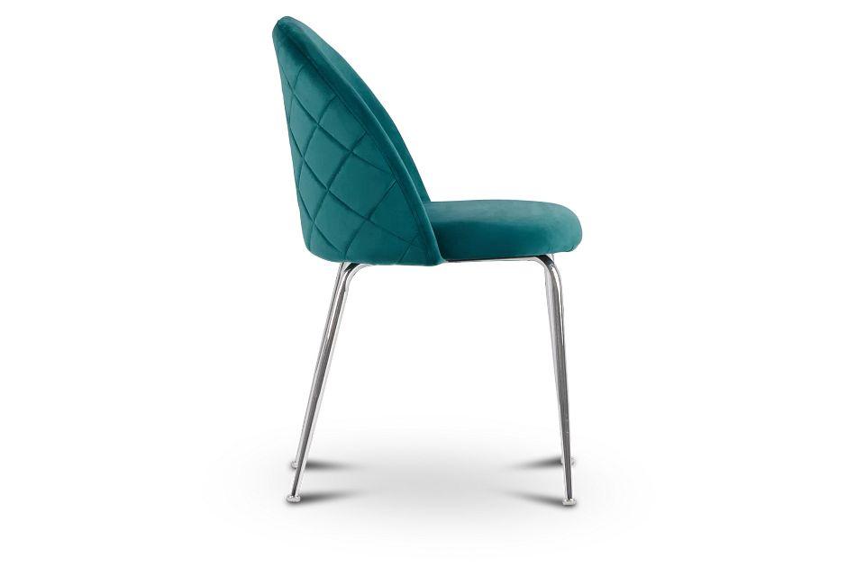 Capri Dark Teal   Upholstered Side Chair w/Chrome Legs,  (2)