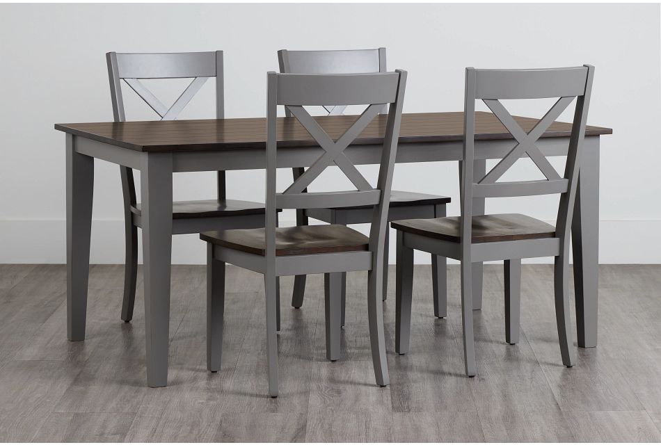 Sumter Gray Rect Table & 4 Wood Chairs,  (0)