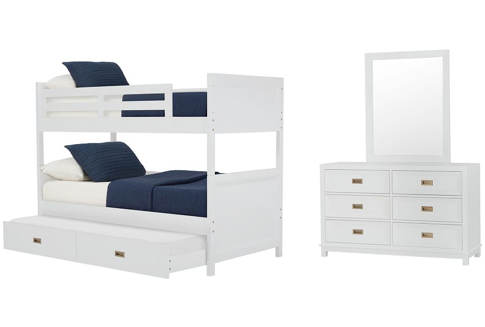 Ryder White Bunk Bed Trundle Bedroom