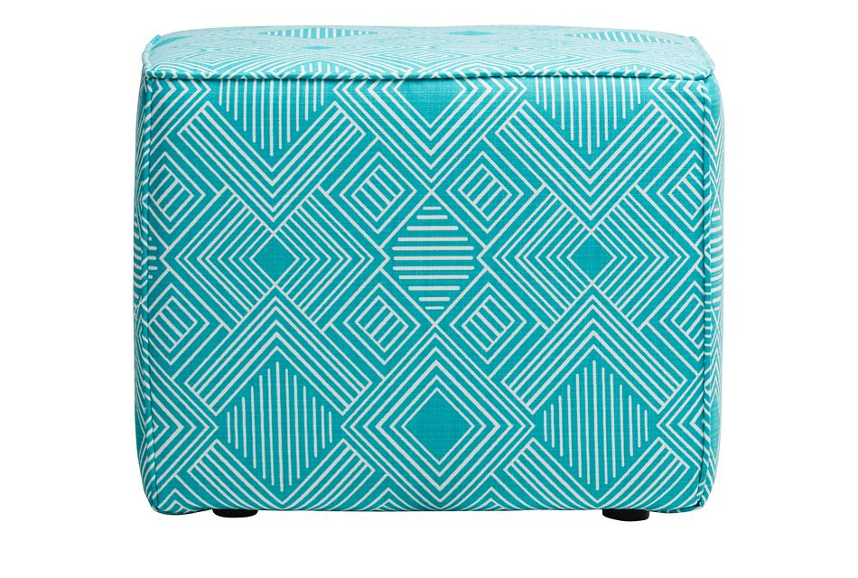 Phase Blue Geometric Indoor/outdoor Accent Ottoman