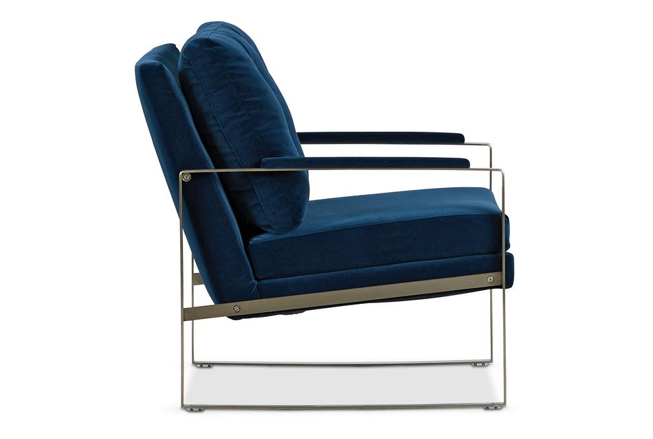 Mod Dark Blue Metal Accent Chair