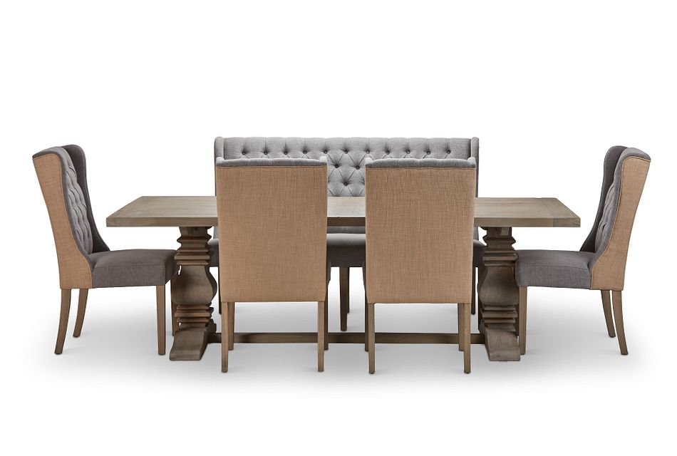 """Hadlow Gray 95"""" Table 4 Tufted Chairs & Bench"""