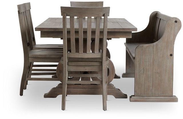 Sonoma Light Tone Trestle Table, 4 Chairs & Bench (2)