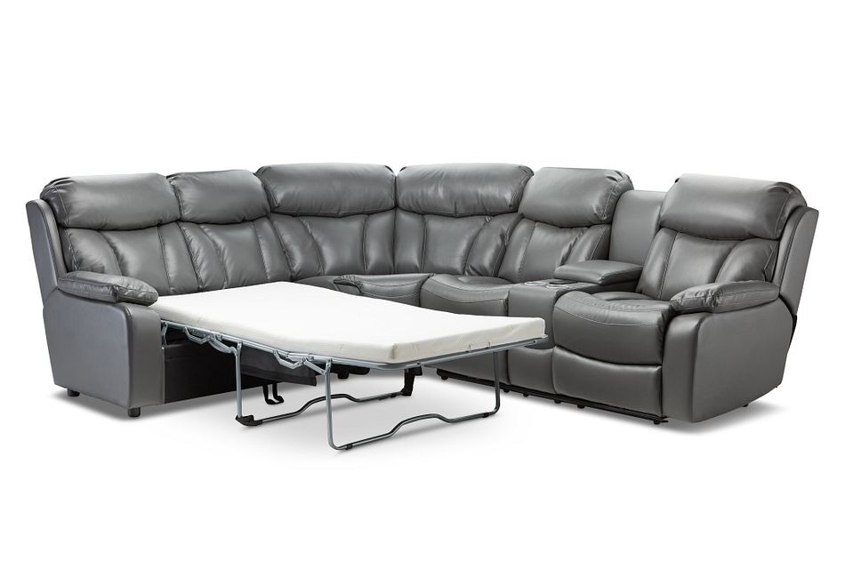 Dustin Gray Micro Small Power Sectional W/ Left Sleeper
