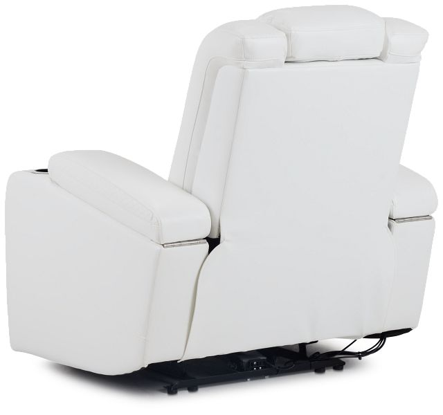 Troy White Micro Power Recliner With Power Lumbar