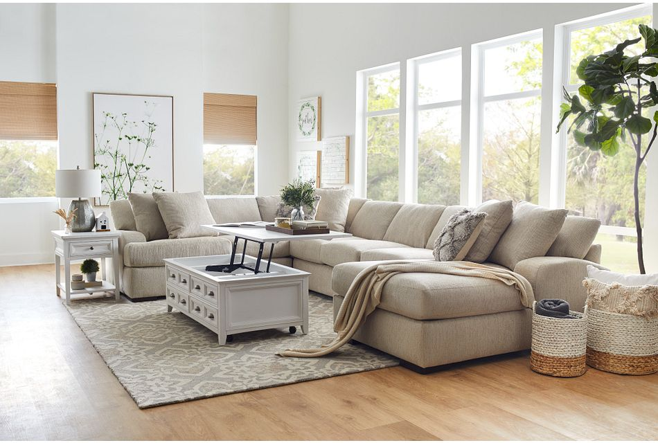 Alpha Beige Fabric Medium Right Chaise Sectional