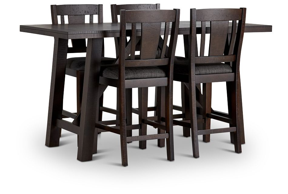 Cash Gray High Table & 4 Upholstered Barstools