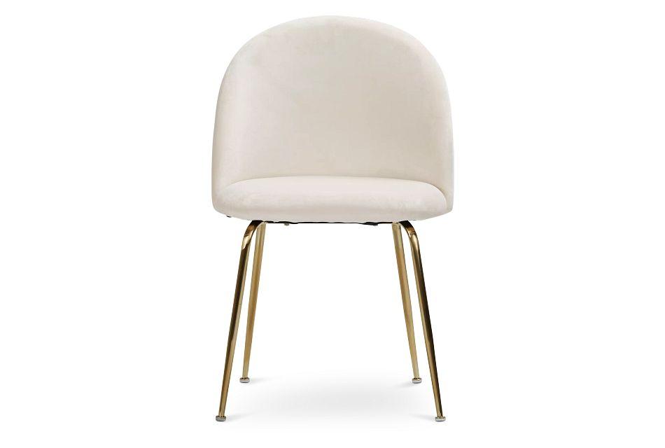 Capri Ivory Upholstered Side Chair W/ Gold Legs