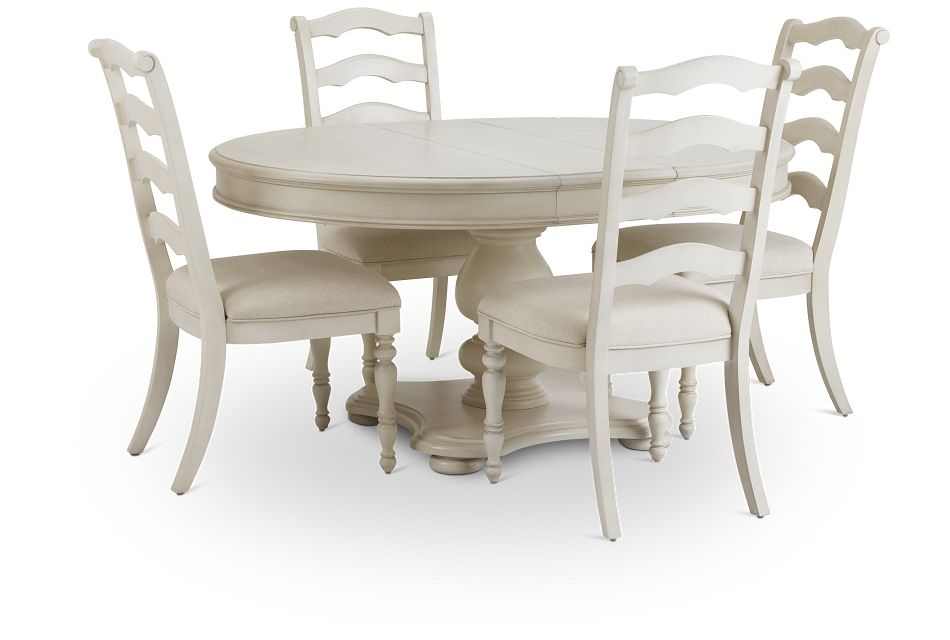 Savannah Ivory Round Table & 4 Chairs,  (3)