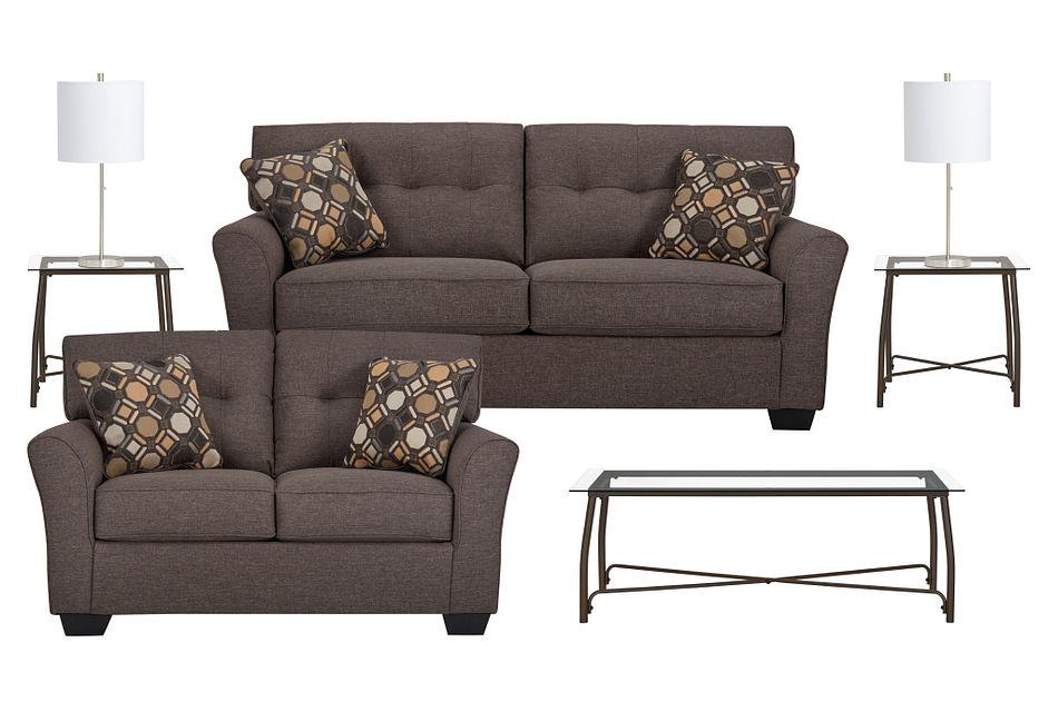 Laryn Dark Gray Micro 7-piece Living Room Package