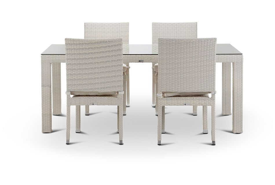 "Bahia White 72"" Rectangular Table & 4 Chairs"
