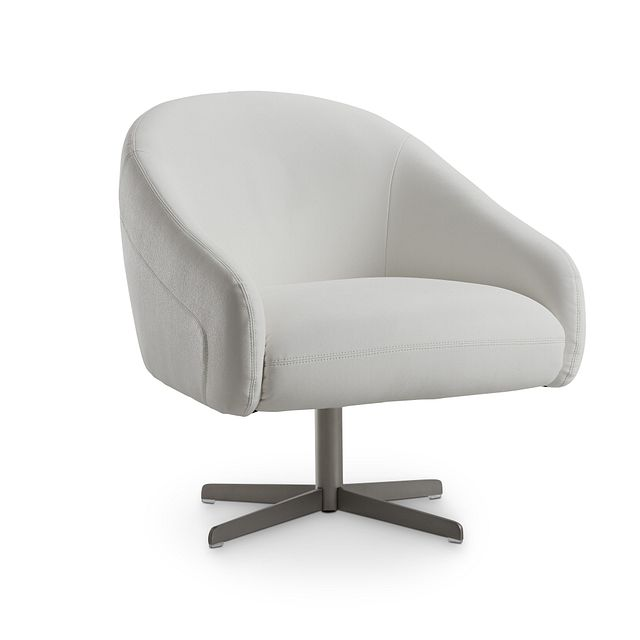 Frankie White Swivel Accent Chair (1)
