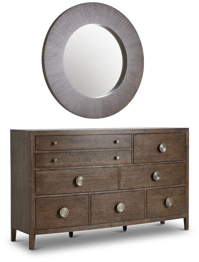 Linea Dark Tone Dresser & Mirror (3)