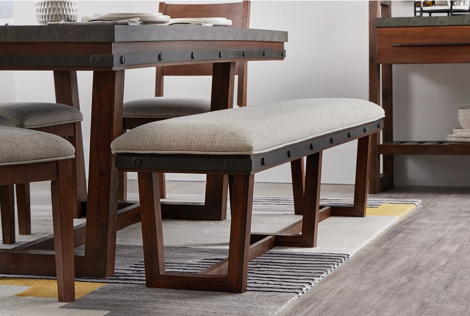 Forge Dark Tone Rect Table, 4 Chairs & Bench,  (2)
