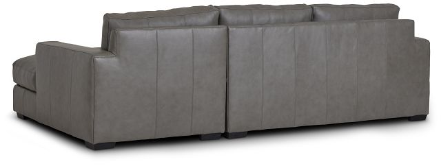 Dawkins Gray Leather Right Chaise Sectional (3)