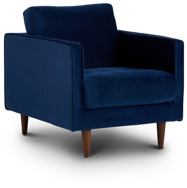 Luna Dark Blue Velvet Chair (1)
