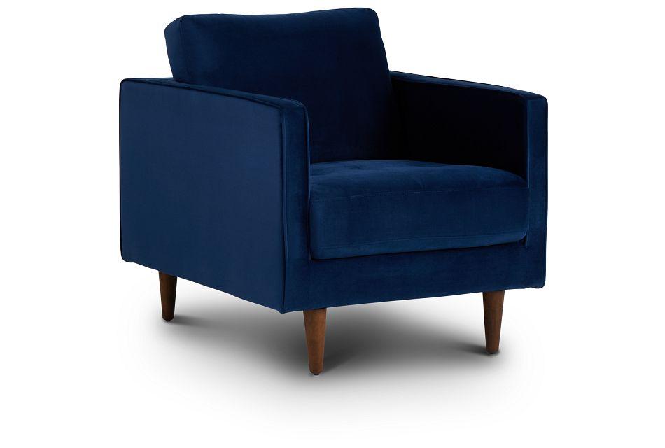 Luna Dark Blue Velvet Chair,  (1)