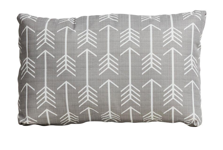 Arrow Gray Lumbar Indoor/outdoor Accent Pillow