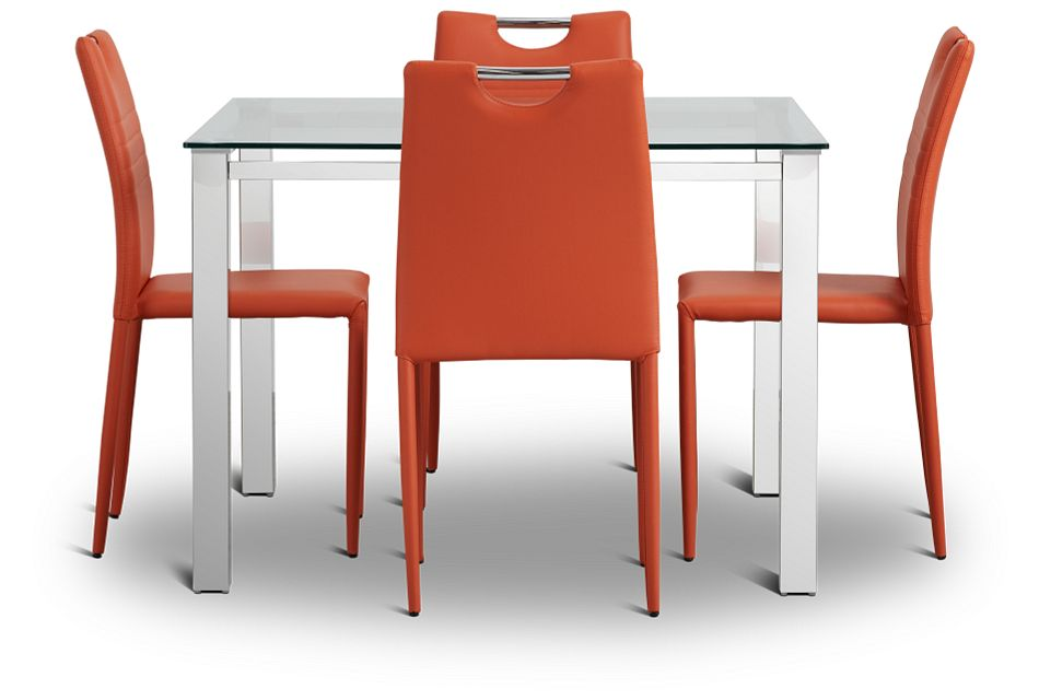 Skyline Orange Square Table & 4 Upholstered Chairs