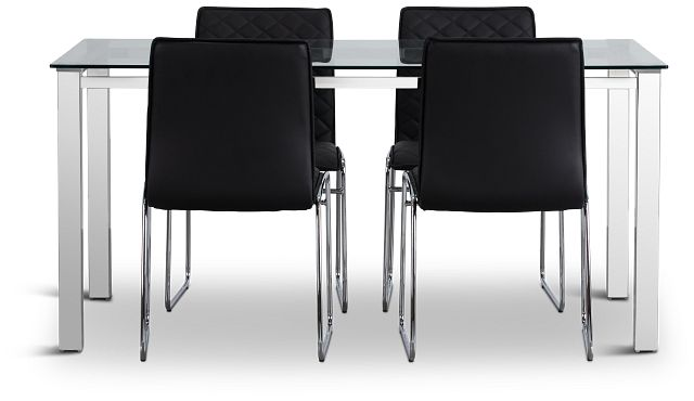 Skyline Black Rect Table & 4 Metal Chairs (3)