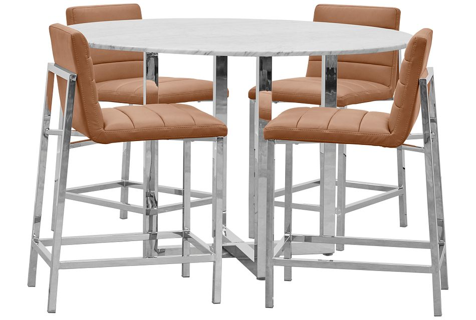Amalfi Brown Marble High Table & 4 Upholstered Barstools