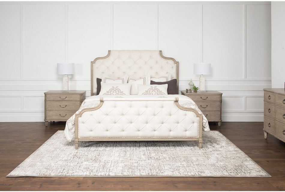 Marquesa Gray Uph Panel Bed, King (1)