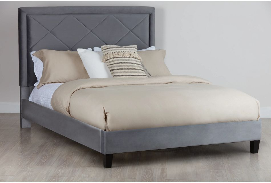 Collin Dark Gray Velvet Platform Bed