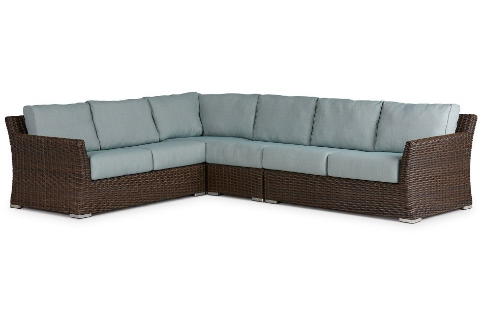 Southport Teal Woven Large Two-arm Sectional