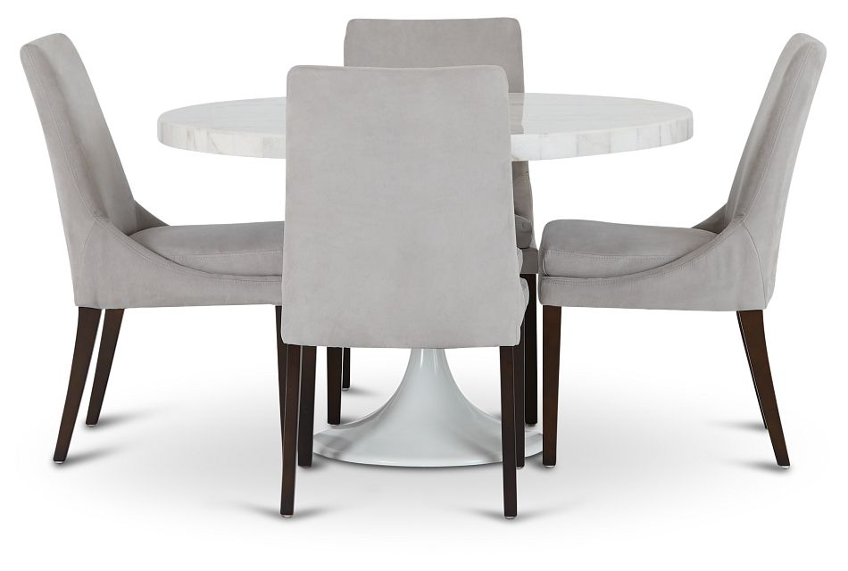 """Violet Light Gray 48"""" Round Table & 4 Upholstered Chairs, %%bed_Size%% (2)"""