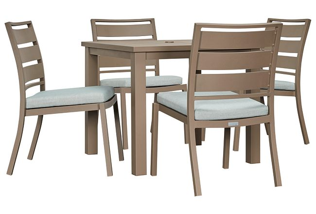 """Raleigh Teal 35"""" Square Table & 4 Cushioned Chairs"""