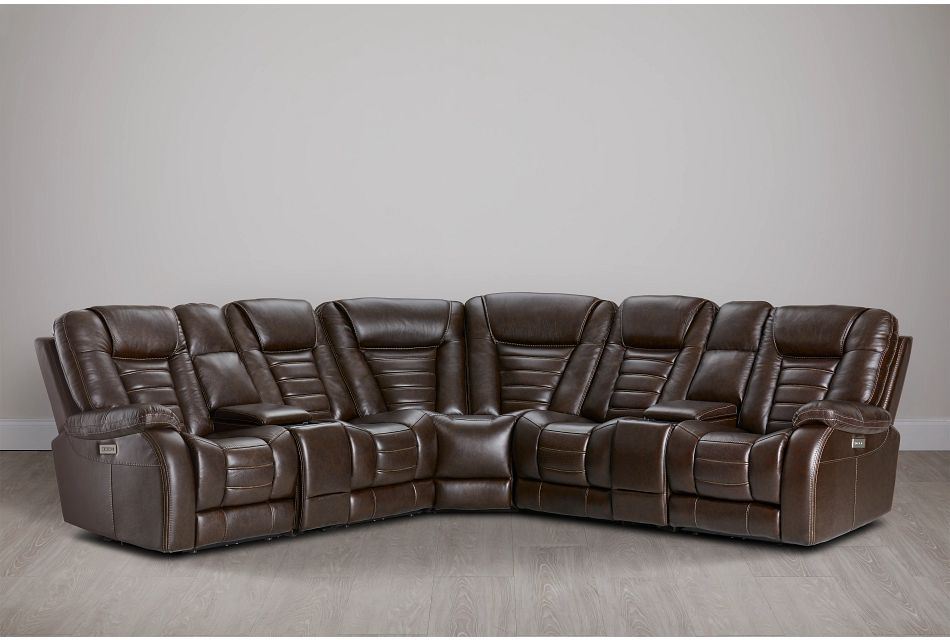 Bradley Dark Brown Lthr/vinyl Large Triple Power Reclining Two-arm Sectional