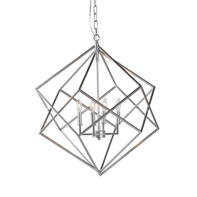 Cage Silver Chandelier