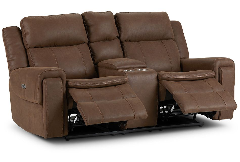 Scout BROWN MICRO Power Reclining Console Loveseat,  (3)