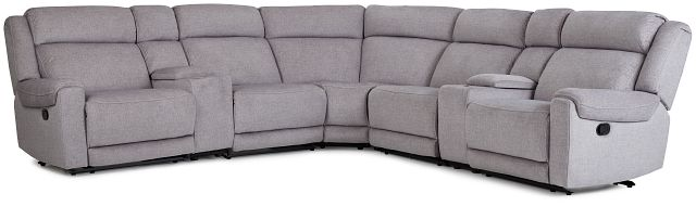 Beckett Gray Micro Large Dual Manually Reclining Two-arm Sectional (1)