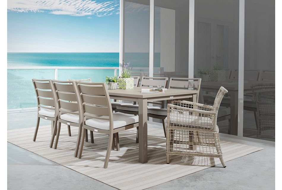"""Raleigh Gray 81"""" Rectangular Table & 4 Cushioned Chairs"""