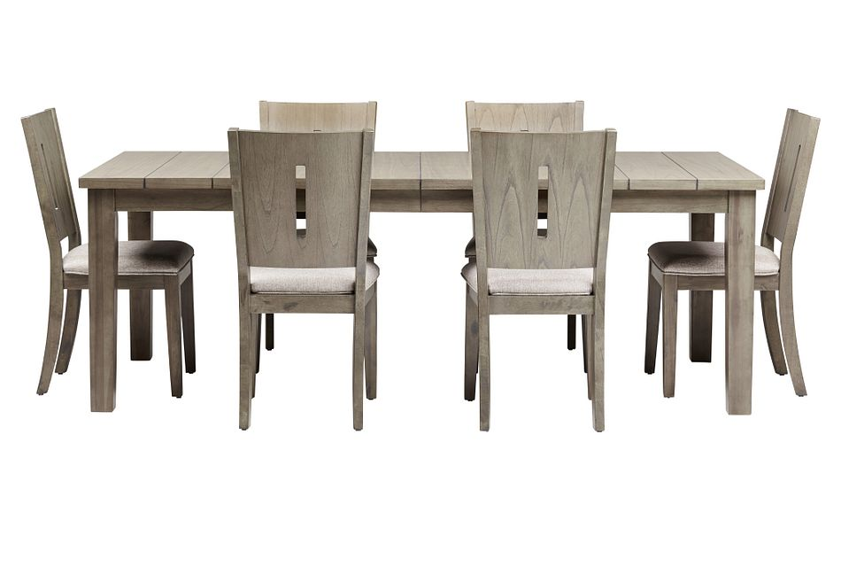 Sienna Gray Rect Table & 4 Wood Chairs,  (2)