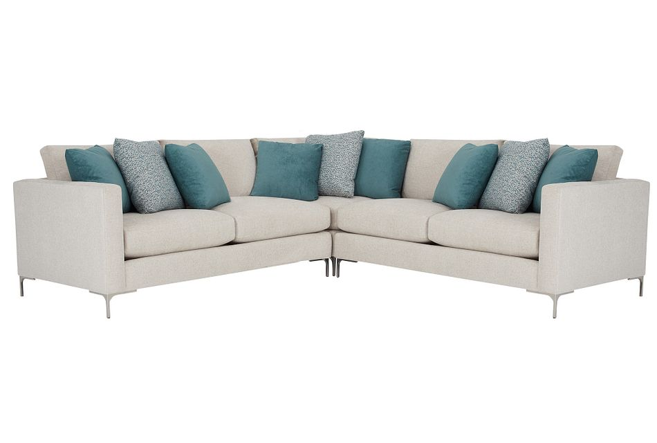 Eden Light Taupe Fabric Small Two-arm Sectional