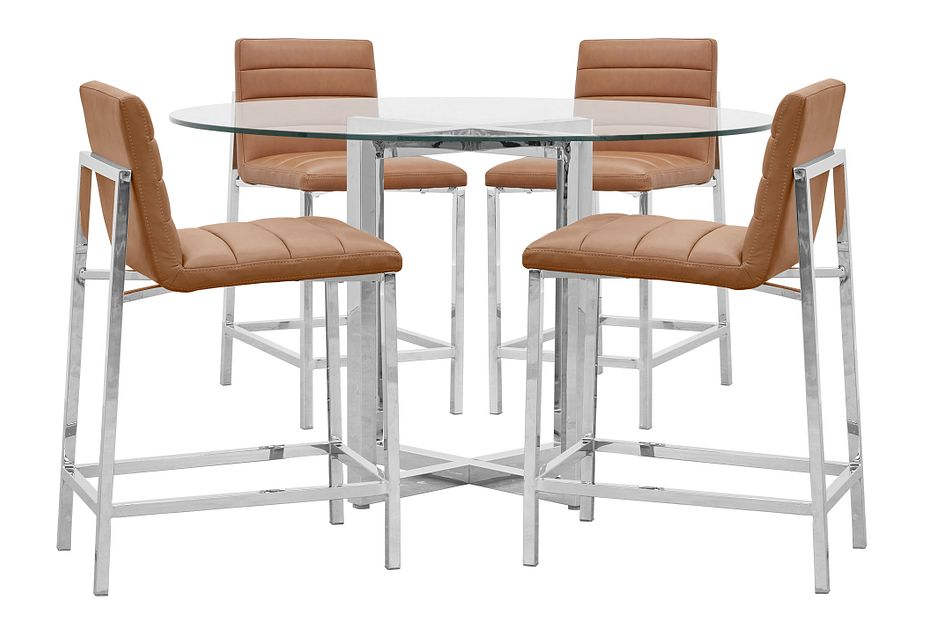 Amalfi Brown Glass High Table & 4 Upholstered Barstools